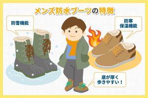 メンズ防水ブーツの特徴